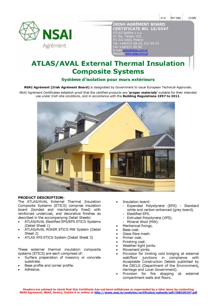 ATLAS/AVAL 10/0347 External Thermal Insulation Composite Systems Build Shield certification