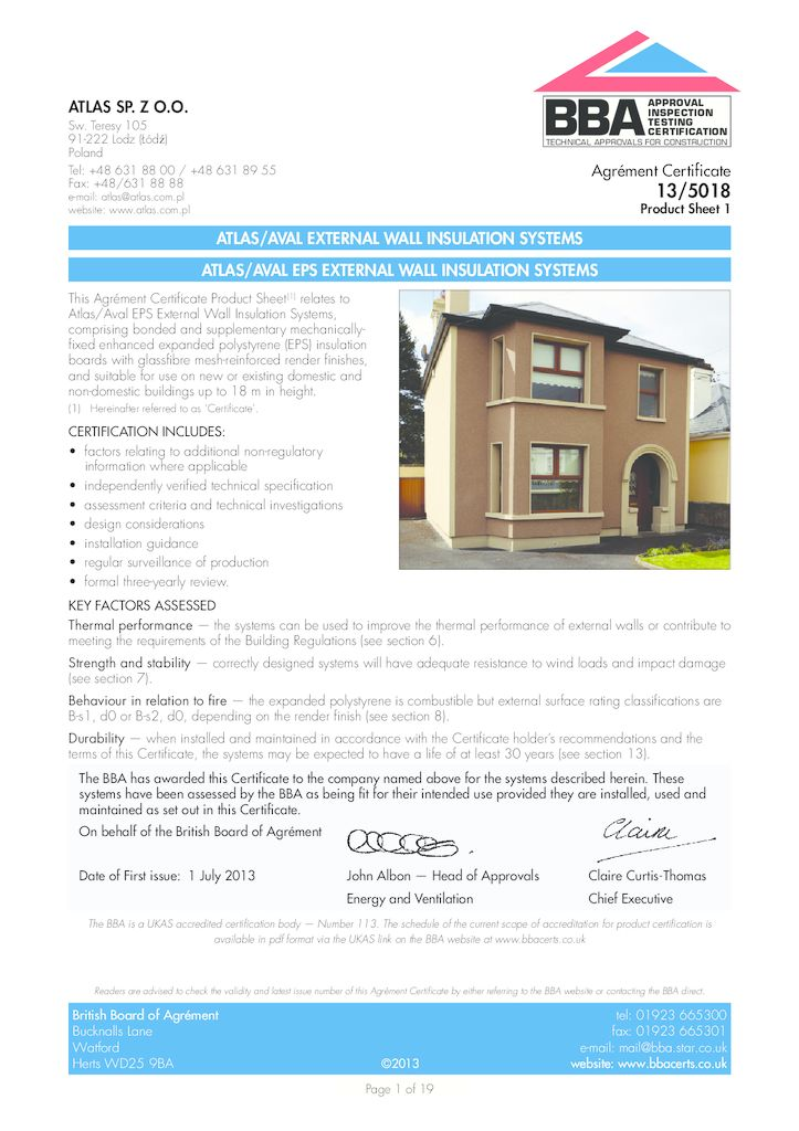 ATLAS/AVAL EPS EXTERNAL WALL INSULATION SYSTEMS Build Shield certification