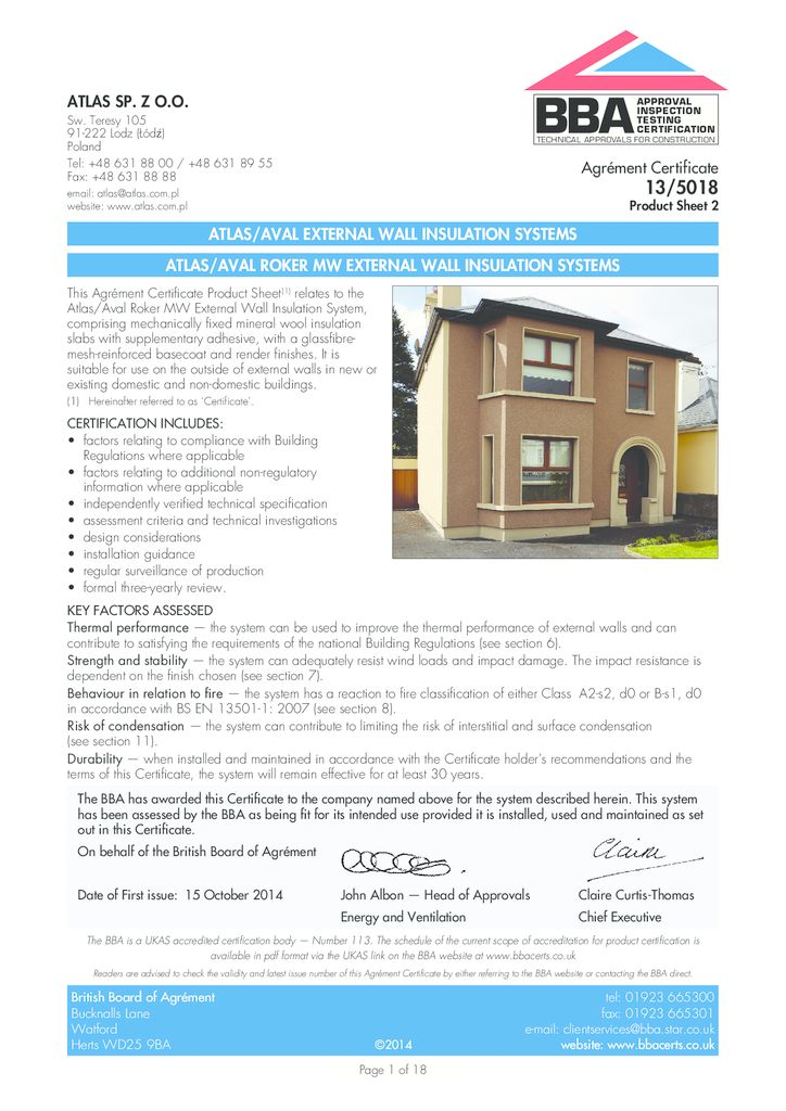 ATLAS/AVAL ROKER MW EXTERNAL WALL INSULATION SYSTEMS Build Shield certification