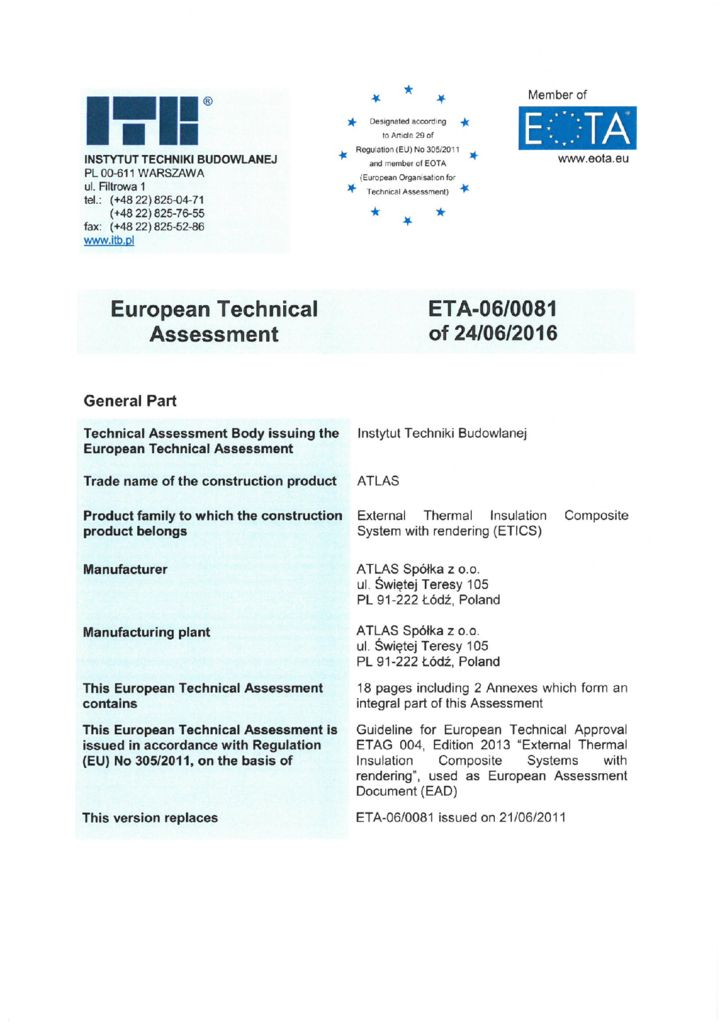 ATLAS ETA-06-0081/2016 ETICS Build Shield certification